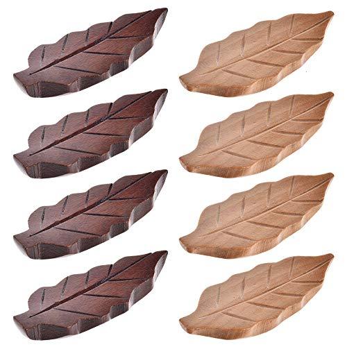 (Chopstick Rest, 8 Pack Chopstick Holder Natural Wooden Leaf Shape Utensil Rest Spoon Fork Knife Holders Great Gift for Friends and Family)