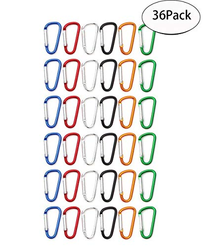 SBYURE Pack of 36 Aluminum D-Ring Spring Loaded,Small Keychain Carabiner Clip,Mini Lock Snap Hooks for Outdoor Camping,Travling and Camping,Assorted Colors
