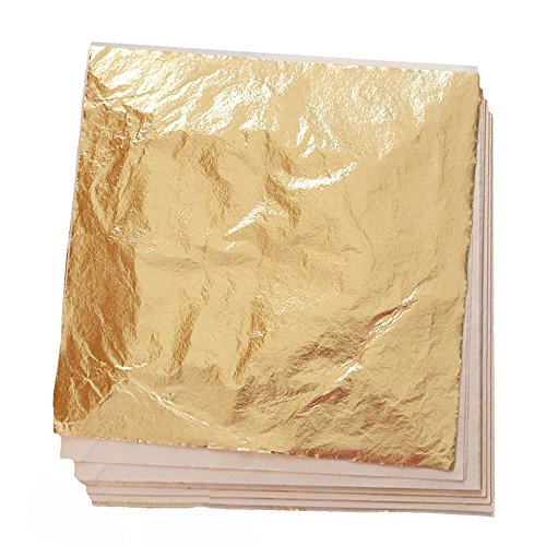 100 Sheets Imitation Gold Leaf for Art, Crafts Decoration, Gilding Crafting, Frames, 5.5 by 5.5 Inches ()