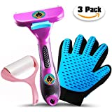 EZ Turbo Deshedding Dog Brush & Cat Brush Shedding Tool with Grooming Glove and Lint Roller, Efficiently Remove Loose Hair and Reduce Shedding for Short or Long Hair, Small, Medium and Large