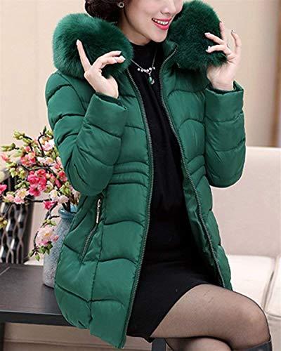 Cuello Mujeres Invierno Larga Manga Piel Casuales Mujer Chaqueta Cremallera Elegante Encapuchado Acolchado Espesar Sintética Grün Abrigo Abrigos Plumas Otoño De Informales Moda Acolchada T6wwSz7qxE