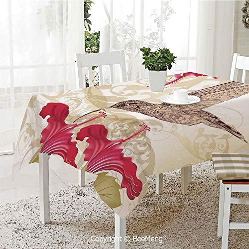 BeeMeng Dining Kitchen Polyester dust-Proof Table Cover,Bird and Hibiscus Flowers on Ornamental Background Color Stylish Art Decorative,59 x 59 inches