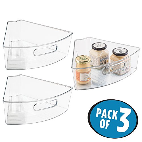 mDesign Kitchen Cabinet Lazy Susan Storage Organizer Bin with Front Handle - Medium Pie-Shaped 1/6 Wedge, 4