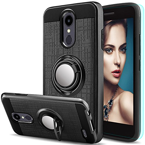 AnoKe for LG Aristo 2 Plus Case LG Aristo 2/LG Tribute Dynasty/LG Zone 4/LG Fortune 2/LG K8 2018/LG Risio 3/LG Rebel 3 LTE with HD Screen Protector,Ring Holder Kickstand Protective Cover Black