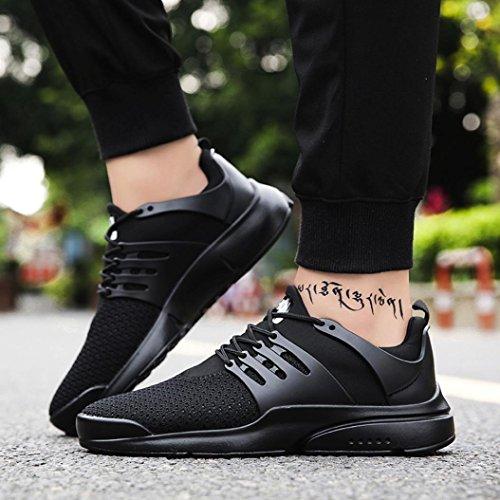Hunputa Mens Fashion Baskets Beatable Maille Chaussures De Course Lacets Casual Chaussures De Course Chaussures De Basket-ball Noir