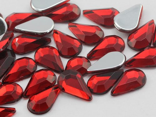 10x6mm Red Ruby H103 Flat Back Teardrop Acrylic Jewels High Quality Pro Grade - 100 Pieces
