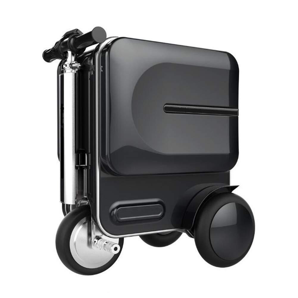 多機能ライド可能なスマート荷物セット伸縮ハンドル持ち運び用荷物袋トラベルバッグ電動スーツケースシルバーまたはブラック,Black B07K4CHTMF Black