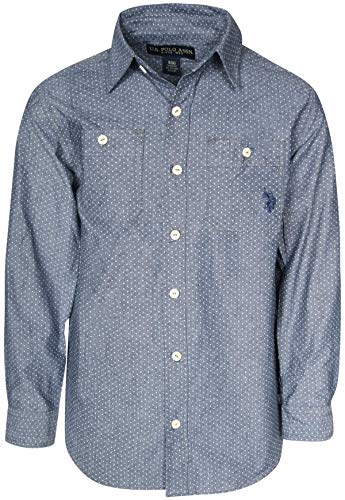 U.S. Polo Assn. Boys Long Sleeve Woven Button Down Shirt, Navy Chambray, Size 8