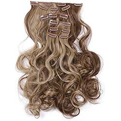 "SARLA 20"" 7Pcs Full Head Wavy Clip In Hair Extensions Synthetic Heat-Friendly Fiber HairPiece (10H24B)"