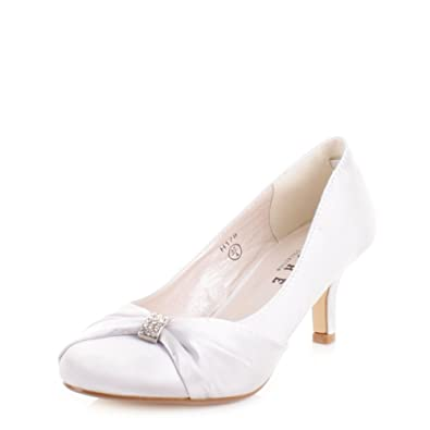 Womens Silver Satin Kitten Heel Wedding Shoes SIZE 4: Amazon.co.uk ...