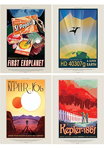 NASA POSTER SPACE EXOPLANET TRAVEL ADVERT PACK x 7 POSTERS ART PRINTS - Priority 2 Day Delivery Mail Time