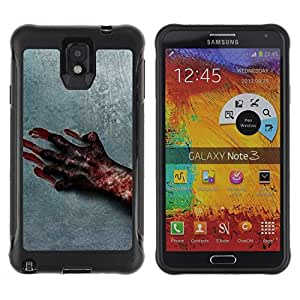 Paccase / Suave TPU GEL Caso Carcasa de Protección Funda para - Blood Hand Scary Halloween Grey Horrible - Samsung Note 3