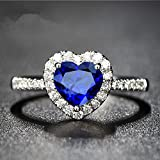 Heart Blue Sapphire Wedding Promise Band Ring 10KT White Gold Filled Size 6,7,8#by pimchanok shop (6)