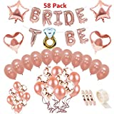 58 Pack Rose Gold Bride To Be Balloons Set , DreamJ Bachelorette Party Decorations Kit with Bride to be Banner Rose Gold Confetti Balloons Ring Balloon Rose Gold Balloons for Bridal Shower Party Supplies