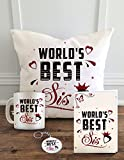 Aldivo Gift For Sister And Brother 12' X 12' Cushion Cover With Filler ,Printed Coffee Mug ,Greeting Card & Printed Key Ring - Combo