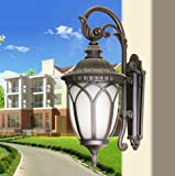 CGJDZMD Wall Sconce European Retro Industrial Outdoor Wall Lamp, Waterproof Outdoor Wall Lamp, for Garden Villas, Textured Black art Glass Finish