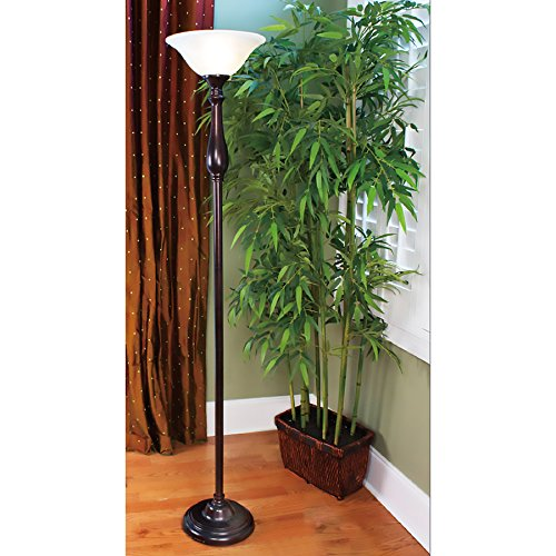 Woodbine 72-in Dark Oil Rubbed Bronze 3-way Torchiere Floor Lamp with Glass Shade by Woodbine