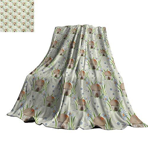 (Mushroom,Soft Blanket Microfiber Mushroom House Kids Home Happy Fantasy Flower Veggies Grassland Vegetarian Custom Blankets 60