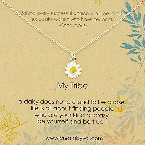 My Tribe Daisy Sterling Silver Necklace - 17'' Length Dainty Sterling Silver Necklace