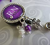 Personalized RN Nurse ID Badge Reel, Custom RN Retractable ID holder, Purple Nurse Name LPN BSN Gift