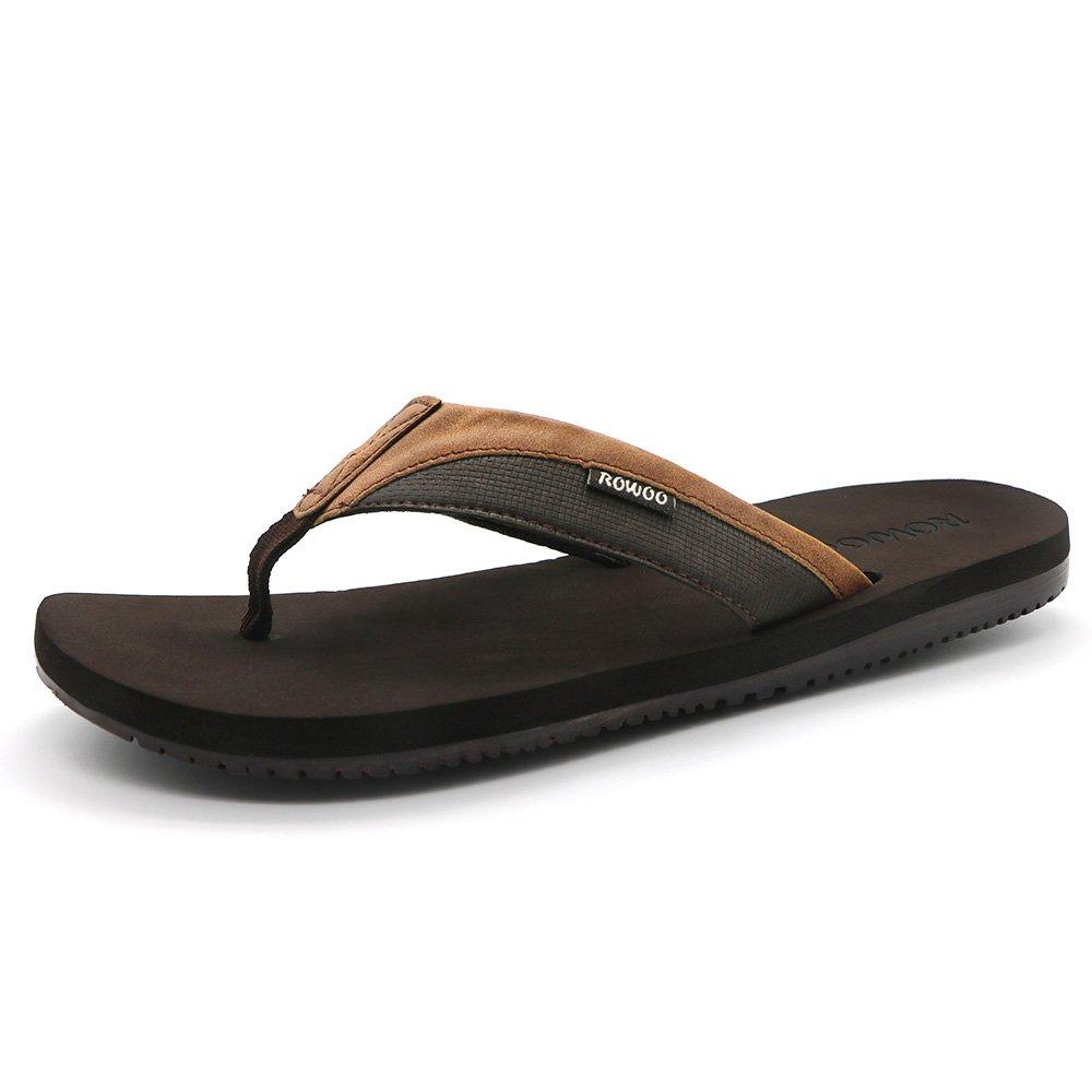 HUMMOO Men's Classic Summer Flip Flops - Thong Athelic Sandals (42 EU/ 9 US, Brown)
