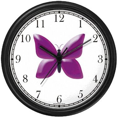 Amazon Com Purple Butterfly Jp Animal Wall Clock By