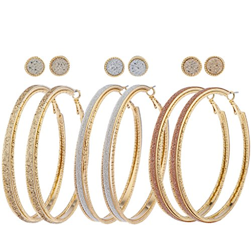- Lux Accessories Goldtone Tri Color Caviar Sticker Glitter Multi Earring Pack 6PC
