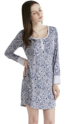 10bbd875f5 Ink+Ivy Long Sleeve Nightgowns for Women - Henley Neck Women Sleepwear  Nightshirt Dress