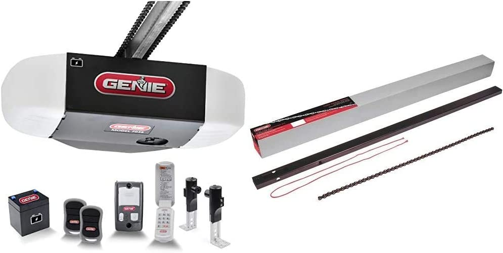Genie Chain Drive 750 3/4 HPc Garage Door Opener w/Battery Backup & Chain Drive Garage Door Opener 8ft Rail Extension Kit - Extends Your Tube-Style Chain Drive Rails to Fit an 8-Foot Garage Door