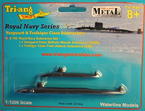 Triang S790 Royal Navy Submarine Set 1/1200 Scale DIecast Vanguard and Trafalgar Class