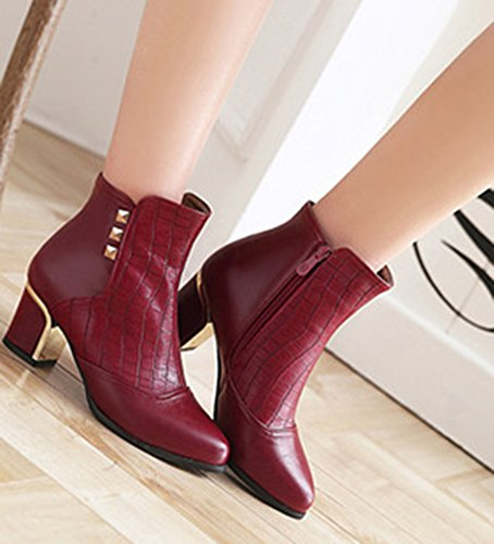 Ankle Aisun Mid Heel Red Boots Zip Studded Toe Inside Fashion Dress Womens Up Block Booties Round gvrgnqOW