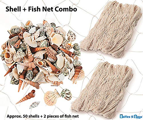 Sea Shell + Natural Cotton Fish Net MEGA Decoration Bundle - Perfect for Easter Baskets, Beach Themed Birthday Parties & Vase Fillers - Approx. 50 Decorative Seashells