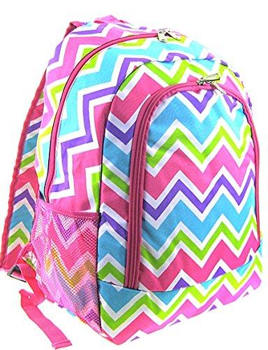 Girls Backpack Lunch Bag Set Pink Green White Blue Chevron Zig Zag 12092