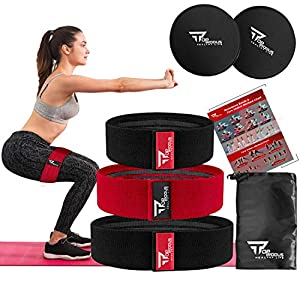 TOPRODUS Fabric Resistance Bands & Core Sliders Exercise Set – 3 Fabric Bands & 2 Strength Slides for Legs, Butt, Hips…
