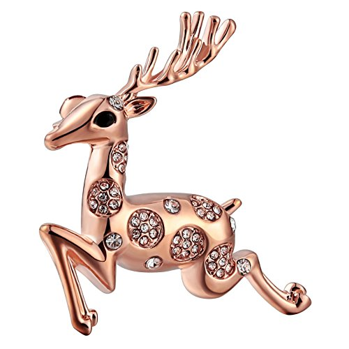 Womens Ladies Brooch Stainless Steel Brooches Cz cz Deer Rose Gold 5X4CM Womens Gift Xmas Gift Bag - Sunglasses Logo Dragon