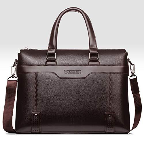 Surfplatta fodral bärkasse herr handväska tvärsnitt stor kapacitet herrväska PU resväska läderväska axel slung business dator portfölj retro tidväska premium skydd (färg: brun)