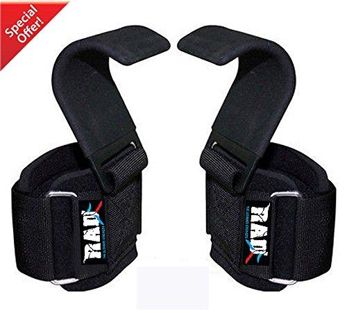 RAD Heavy Duty Weightlifting Hooks Wrist Support Straps Power Gripper Chin Up Dip (Black)