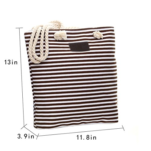 Handle Top Striped Shoulder Canvas Bag Coffee Zipped Women Bag Shopping Beach Tote Oversized Bag MEGA xqZS1wnBx