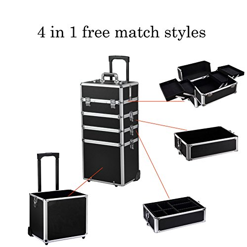 4-in-1 Aluminum Rolling Makeup Train Cases with 2-wheel and 2 Keys, Professional Multi-function Artist Rolling Trolley Makeup Beauty Train Case Cosmetic Organizer Lift Handle Lock W/shoulder Straps by Best and Affordable