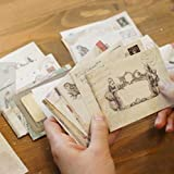 ONOR-Tech Pack of 48 kawaii Retro Lovely Vintage Special Mini Envelope for Wedding, Birthday Party, 12 different disign