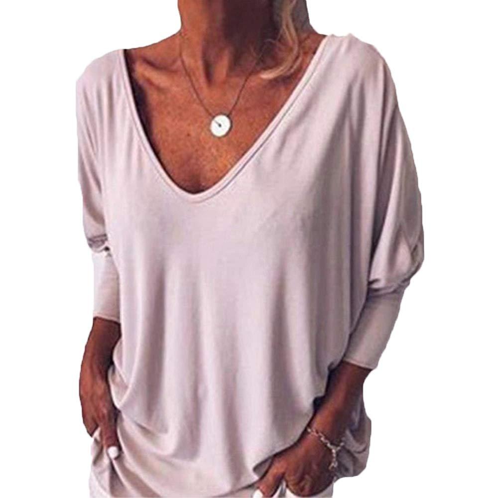 Camiseta Mujer Nuevo Cuello en V Murciélago Manga Siete Cuartos Botón Trasero Top Holgado: Amazon.es: Ropa y accesorios