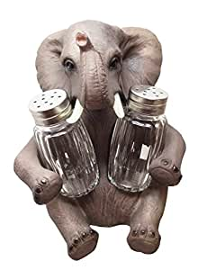 PACHY SPICE SITTING ELEPHANT SALT PEPPER SHAKERS HOLDER FIGURINE STATUE