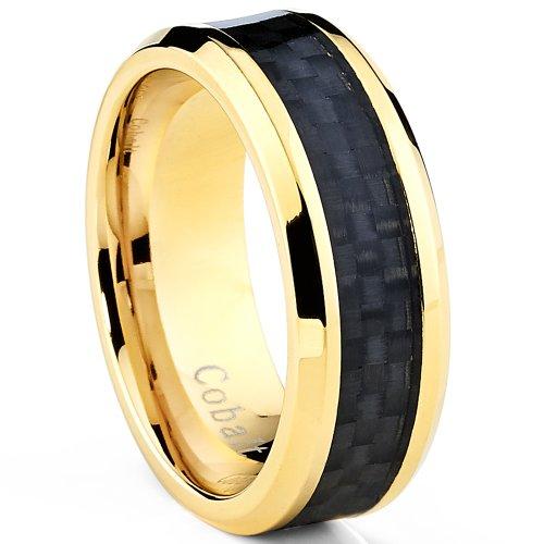 Goldtone Plated Men S Cobalt Wedding Band Ring With Black Carbon