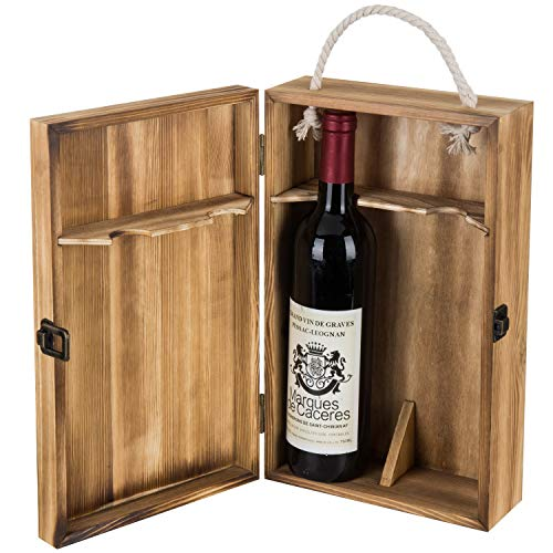 (MyGift Dark Torched Wood Double Bottle Wine Case, Top Handle Hinged Lid Carrier, Brown)
