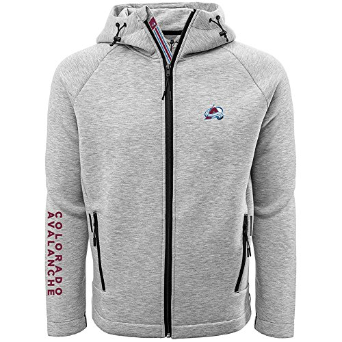- Levelwear LEY9R NHL Colorado Avalanche Adult Men Titan Banner Stripe Full Zip Hooded Jacket, X-Large, Heather Pebble