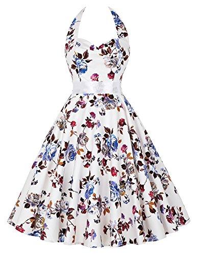 Stock Retro Vintage Cotton Backless Halter Party Picnic Dress(75-10,2XL)