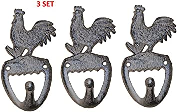 Cast Iron Antique Style Rustic ROOSTER Coat Hook Brown Finish CHICKEN Hat Rack