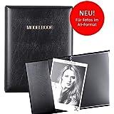 Modelbook schwarz, Modelmappe A5, Modelbuch Fotomappe für 28 Fotos im A5-Format, austauschbare Hüllen, Portfolio Mappe A5 Portfoliobuch