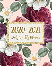 2020-2021 Planner: Jan 2020 - Dec 2021 2 Year Daily Weekly Monthly Calendar Planner W/ To Do List Academic Schedule Agenda Logbook Or Student & Teacher Organizer Journal Notebook, Appointment Business Planners W/ Holidays | Floral Gold