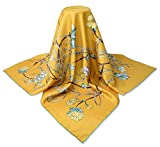 corciova 35'' 14 Timmy Twill 100% Real Mulberry Silk Square Women Scarfs Scarves Naples Yellow Flowers Patterns